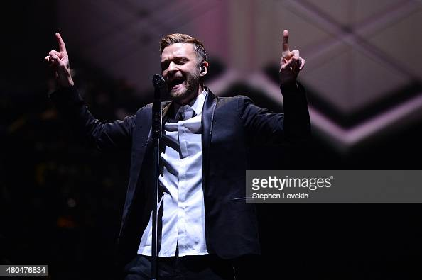 Justin Timberlake performs on stage at Barclays Center on December 14 2014 in the Brooklyn borough of New York City