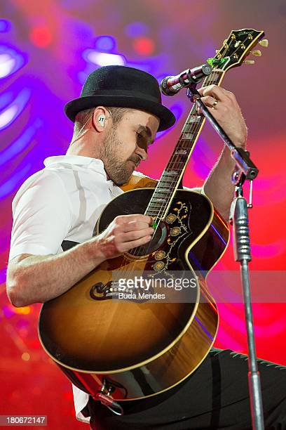 Justin Timberlake performs on stage during a concert in the Rock in Rio Festival on September 15 2013 in Rio de Janeiro Brazil
