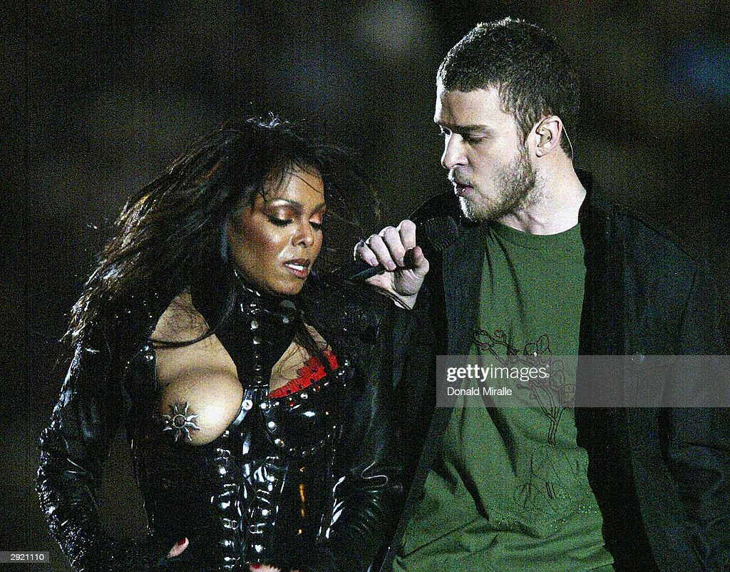 Justin Timberlake performs with Janet Jackson during the halftime show at Super Bowl XXXVIII between the New England Patriots and the Carolina Panthers at Reliant Stadium on February 1, 2004 in Houston, Texas.
