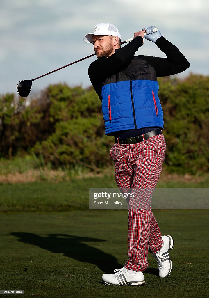 <a gi-track='captionPersonalityLinkClicked' href=/galleries/search?phrase=Justin+Timberlake&family=editorial&specificpeople=157482 ng-click='$event.stopPropagation()'>Justin Timberlake</a> plays his tee shot on the 13th hole during the second round of the AT&T Pebble Beach National Pro-Am at the Monterey Peninsula Country Club (Shore Course) on February 12, 2016 in Pebble Beach, California.