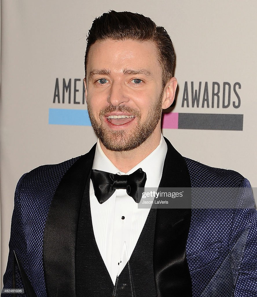 <a gi-track='captionPersonalityLinkClicked' href=/galleries/search?phrase=Justin+Timberlake&family=editorial&specificpeople=157482 ng-click='$event.stopPropagation()'>Justin Timberlake</a> poses in the press room at the 2013 American Music Awards at Nokia Theatre L.A. Live on November 24, 2013 in Los Angeles, California.