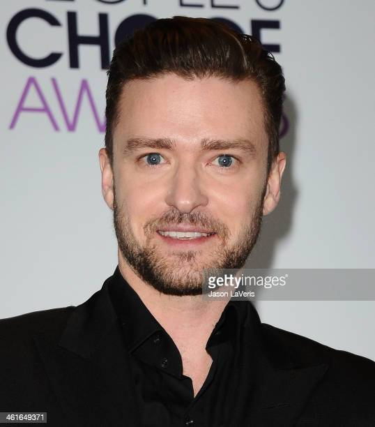 Justin Timberlake poses in the press room at the 40th annual People's Choice Awards at Nokia Theatre LA Live on January 8 2014 in Los Angeles...