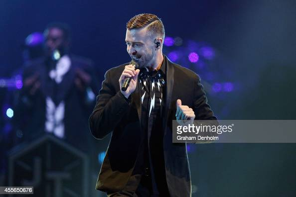Justin Timberlake sings live at the opening show of his 20/20 Experience World Tour at Etihad Stadium on September 18 2014 in Melbourne Australia