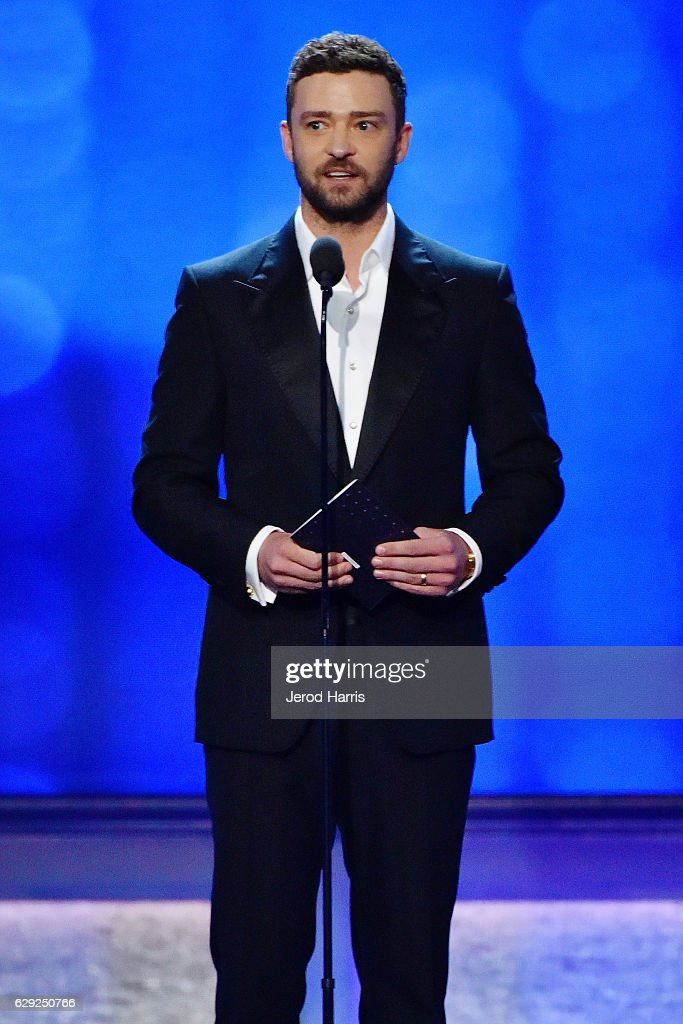 Justin Timberlake speaks onstage during the 22nd Annual Critics' Choice Awards at Barker Hangar on December 11, 2016 in Santa Monica, California.