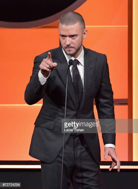 Justin Timberlake speaks onstage during the 31st Annual American Cinematheque Awards Gala at The Beverly Hilton Hotel on November 10 2017 in Beverly...