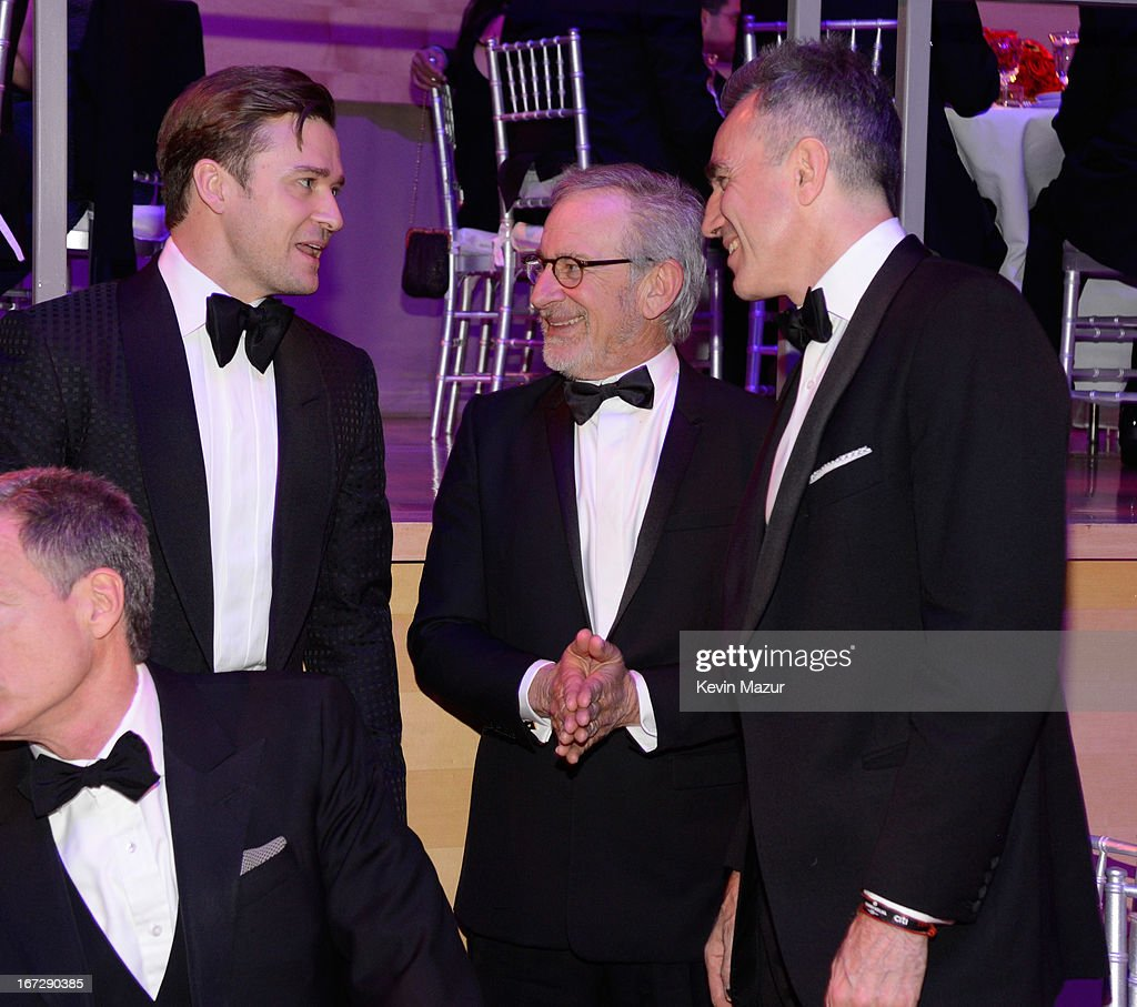 Justin Timberlake, Steven Spielberg and Daniel Day Lewis attend TIME 100 Gala, TIME'S 100 Most Influential People In The World at Jazz at Lincoln Center on April 23, 2013 in New York City.