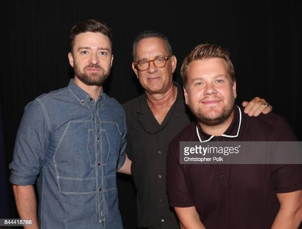 Justin Timberlake Tom Hanks and James Corden attend XQ Super School Live presented by EIF at Barker Hangar on September 8 2017 in Santa California