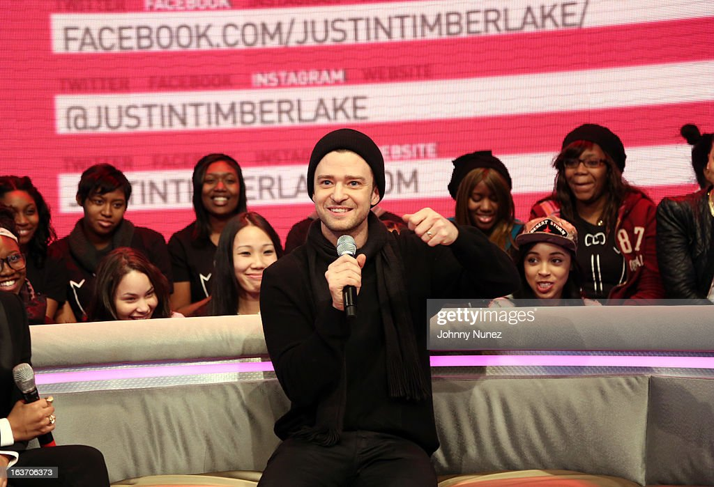 <a gi-track='captionPersonalityLinkClicked' href=/galleries/search?phrase=Justin+Timberlake&family=editorial&specificpeople=157482 ng-click='$event.stopPropagation()'>Justin Timberlake</a> visits BET's '106 & Park' at BET Studios on March 14, 2013 in New York City.