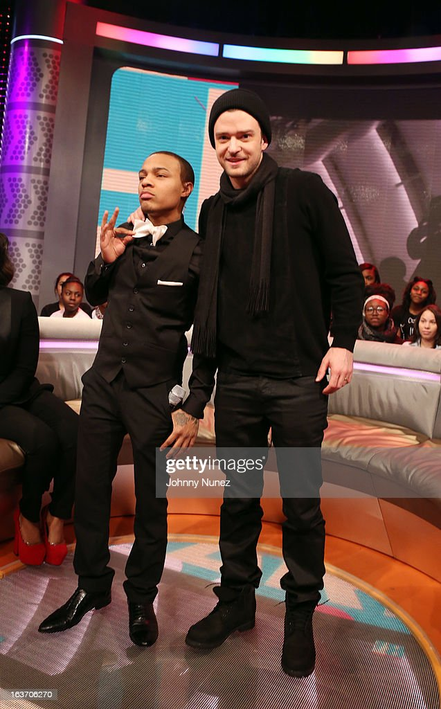 <a gi-track='captionPersonalityLinkClicked' href=/galleries/search?phrase=Justin+Timberlake&family=editorial&specificpeople=157482 ng-click='$event.stopPropagation()'>Justin Timberlake</a> (R) visits BET's '106 & Park' with host <a gi-track='captionPersonalityLinkClicked' href=/galleries/search?phrase=Bow+Wow+-+Rapper&family=editorial&specificpeople=211211 ng-click='$event.stopPropagation()'>Bow Wow</a> (L) at BET Studios on March 14, 2013 in New York City.