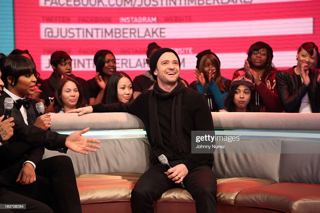 Justin Timberlake (R) visits BET's '106 & Park' with host Paigion (L) at BET Studios on March 14, 2013 in New York City.