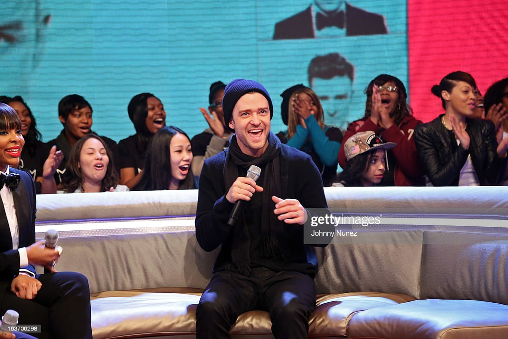 Justin Timberlake visits BET's '106 & Park' with host Paigion (L) at BET Studios on March 14, 2013 in New York City.