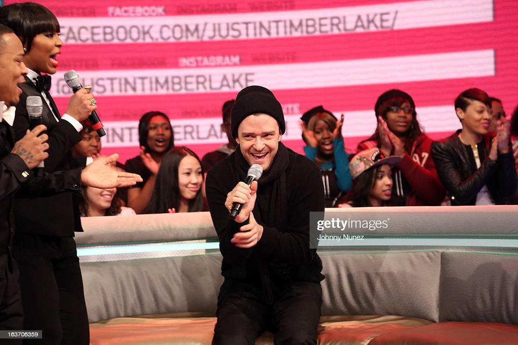Justin Timberlake (R) visits BET's '106 & Park' with hosts Bow Wow (L) and Paigion (c) at BET Studios on March 14, 2013 in New York City.