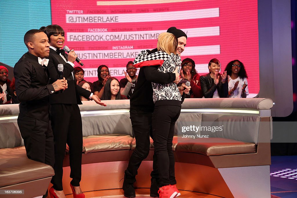 Justin Timberlake (2nd r) visits BET's '106 & Park' with hosts Bow Wow (L), Paigion (2nd L), and Ms. Mykie (R) at BET Studios on March 14, 2013 in New York City.