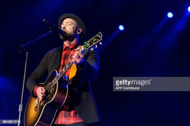 Justin Timberlakeperforms during the Formula 1 United States Grand Prix at Circuit of The Americas on October 21 in Austin Texas / AFP PHOTO /...