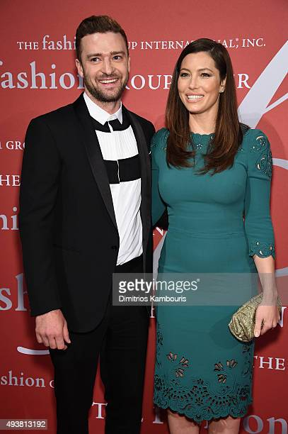 Justin Timerlake and Jessica Biel attend the 2015 Fashion Group International Night Of Stars Gala at Cipriani Wall Street on October 22 2015 in New...
