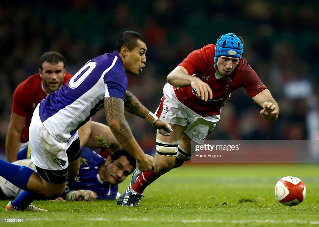 Justin Tipuric of Wales and Tusiata Pisi of Somoa dive for a loose ball during the international match between Wales and Samoa at the Millennium Stadium on November 16, 2012 in Cardiff, Wales.