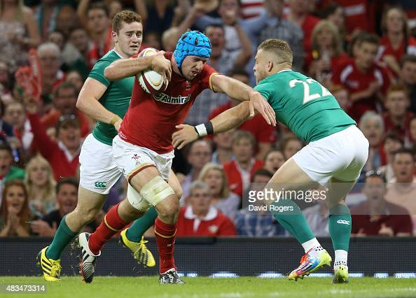 Justin Tipuric of Wales breaks with the ball to score a try during the International match between Wales and Ireland at the Millennium Stadium on...