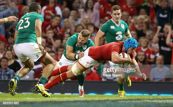 Justin Tipuric of Wales dives over for a try during the International match between Wales and Ireland at the Millennium Stadium on August 8 2015 in...