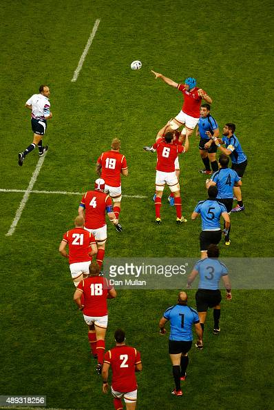 Justin Tipuric of Wales rises to claim the lineout during the 2015 Rugby World Cup Pool A match between Wales and Uruguay at Millennium Stadium on...