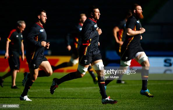 Justin Tipuric of Wales warms up during the Wales Captain's Run ahead of the 2015 Rugby World Cup Pool A match against Australia at Twickenham...