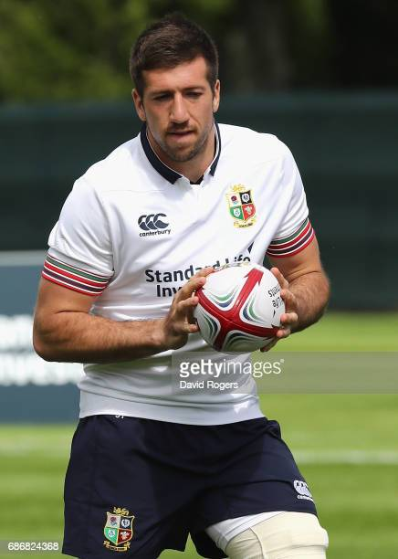 Justin Tipuric runs with the ball during the British and Irish Lions training session held at Carton House Golf Club on May 22 2017 in Maynooth...