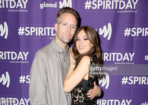 Justin Tranter and Hailee Steinfeld attend the 'Believer' Spirit Day Concert presented by Justin Tranter and GLAAD at Sayer's Club on October 18 2017...