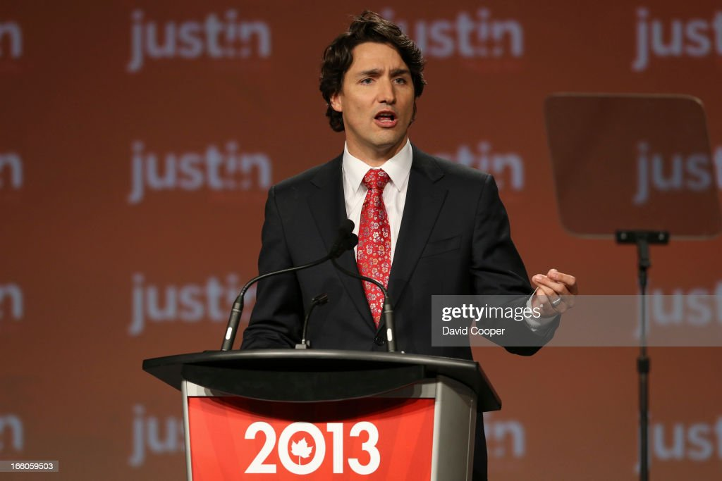 Justin Trudeau addresses the audience at the at the federal Liberal showcase in the Metro Toronto Convention Centre.