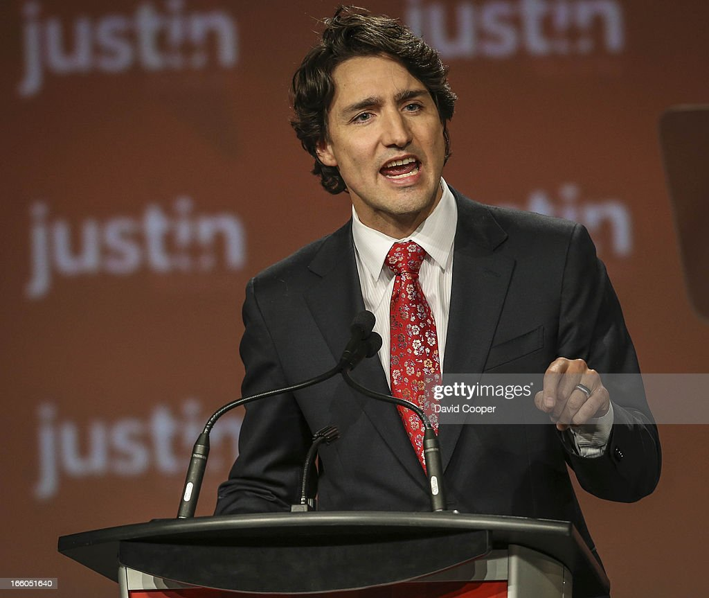 Justin Trudeau addresses the crowd at the federal Liberal showcase at the Metro Toronto Convention Centre.