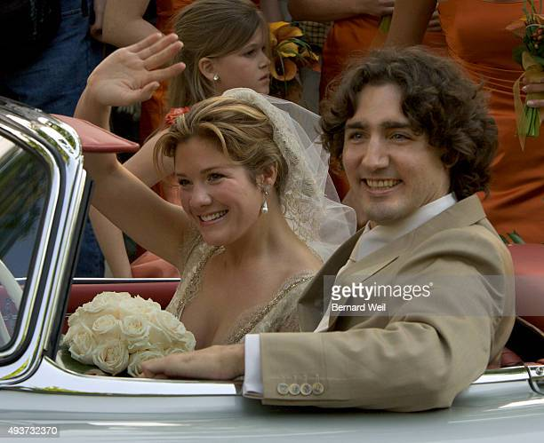 Justin Trudeau and bride Sophie Gregoire leave the SainteMadeleine D'Outremont Church Montreal after their wedding ceremony here May 28 2005