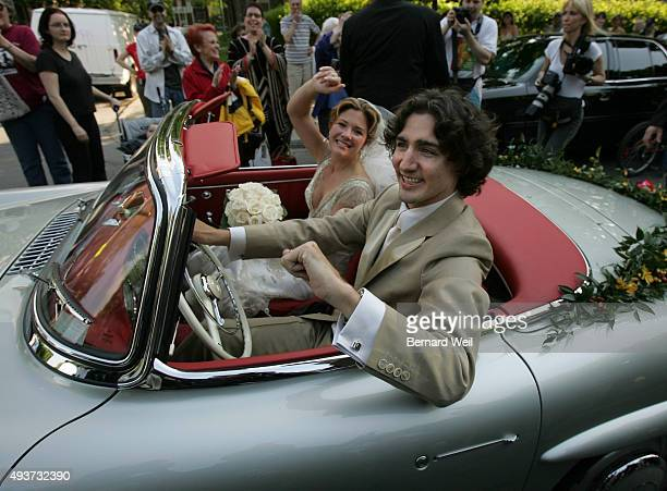 Justin Trudeau and bride Sophie Gregoire leave the SainteMadeleine D'Outremont Church Montreal after their wedding ceremony here May 28 2005 The car...