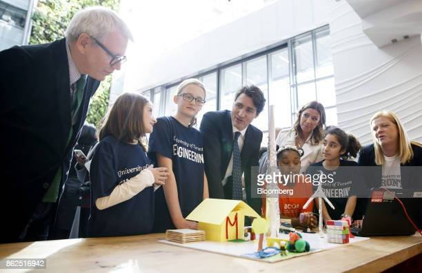 Justin Trudeau Canada's prime minister center views 3D city models built by children during an event in Toronto Ontario Canada on Tuesday Oct 17 2017...