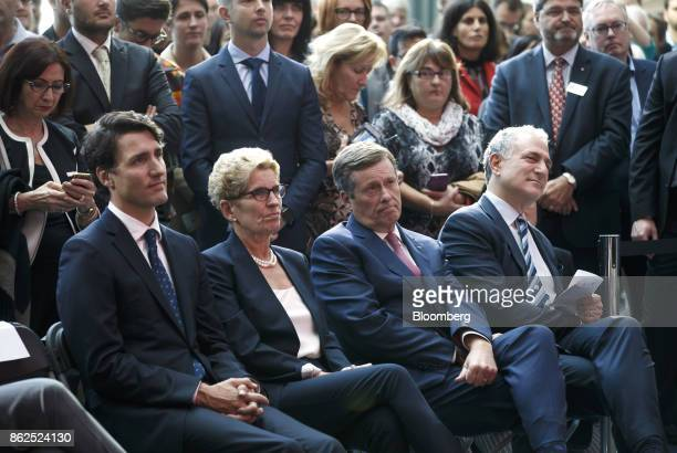 Justin Trudeau Canada's prime minister from left Kathleen Wynne premier of Ontario John Tory mayor of Toronto and Dan Doctoroff chief executive...
