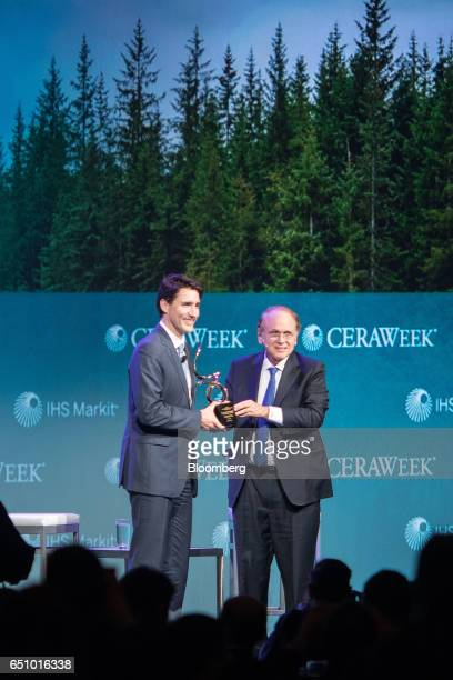 Justin Trudeau Canada's prime minister left receives the CERAWeek Global Energy and Environment Leadership Award in recognition of his commitment to...