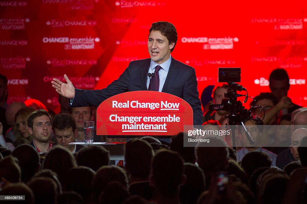 Justin Trudeau, Canada's prime minister-elect and leader of the Liberal Party of Canada, speaks to supporters on election night in Montreal, Quebec, Canada, on Tuesday, Oct. 20, 2015. Trudeau's Liberal Party swept into office with a surprise majority, ousting Prime Minister Stephen Harper and capping the biggest comeback election victory in Canadian history. Photographer: Kevin Van Paassen/Bloomerg