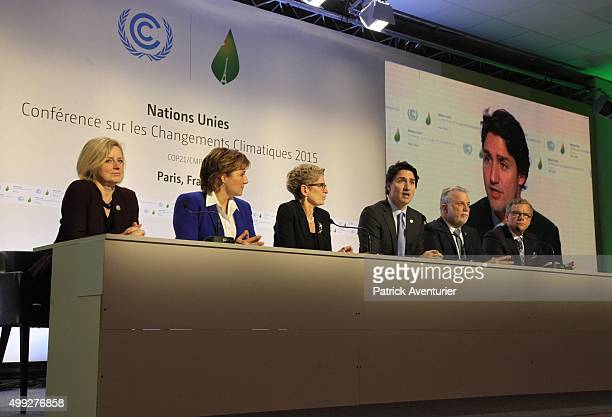 Justin Trudeau prime minister of Canada speaks during a press conference at the 21st session of the conference COP21 on climate change on November 30...