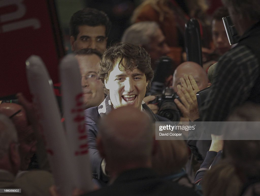 Justin Trudeau walks into the hall at the at the federal Liberal showcase in the Metro Toronto Convention Centre.