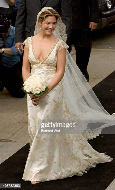 Justin Trudeau's bride Sophie Gregoire arrives at SainteMadeleine D'Outremont Church Montreal for their wedding ceremony here May 28 2005