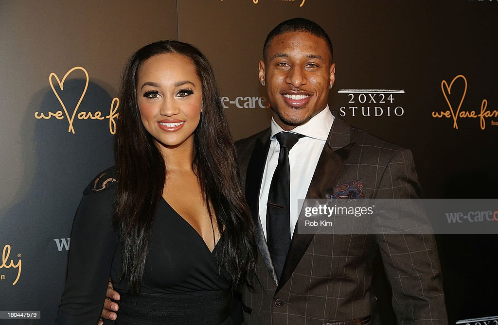 Justin Tryon of the New York Giants (R) and Natasha Albright attend 2013 We Are Family Foundation Gala at Hammerstein Ballroom on January 31, 2013 in New York City.