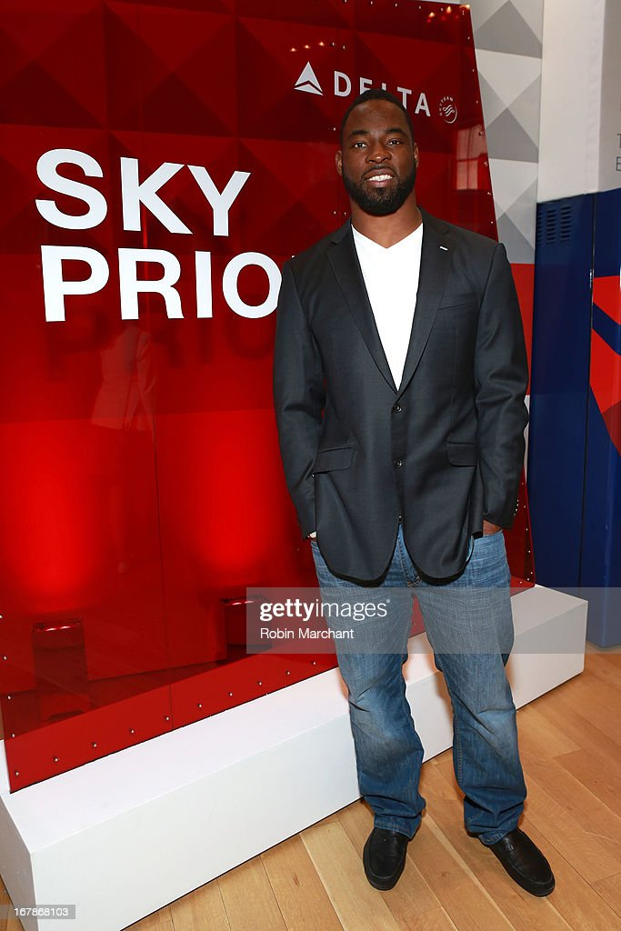 <a gi-track='captionPersonalityLinkClicked' href=/galleries/search?phrase=Justin+Tuck&family=editorial&specificpeople=748769 ng-click='$event.stopPropagation()'>Justin Tuck</a> attends as Delta Air Lines celebrate the opening night of T4X, a pop up experience showcasing distinctive features of the airline's newly transformed international hub at JFK's Terminal 4 on May 1, 2013 in New York City.
