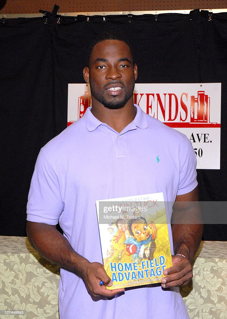 Justin Tuck promotes 'Home Field Advantage' at Bookends on September 27 2011 in Ridgewood New Jersey