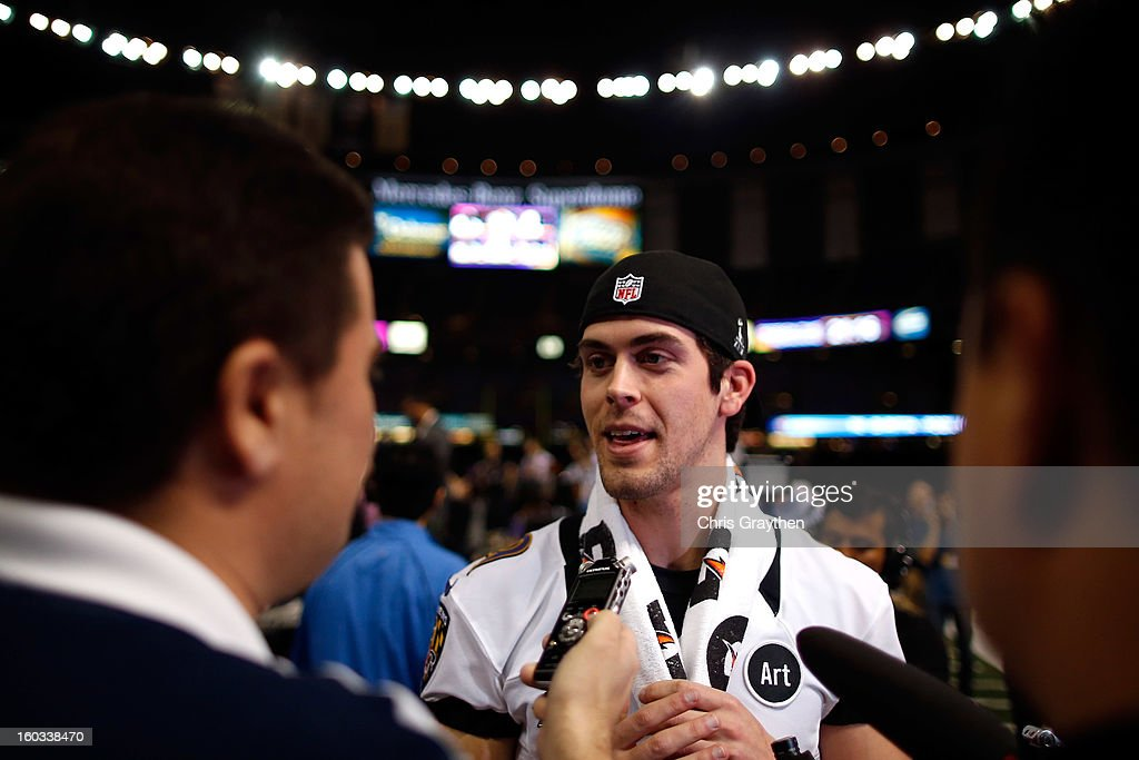 Justin Tucker #9 of the Baltimore Ravens answers questions from the media during Super Bowl XLVII Media Day ahead of Super Bowl XLVII at the Mercedes-Benz Superdome on January 29, 2013 in New Orleans, Louisiana. The San Francisco 49ers will take on the Baltimore Ravens on February 3, 2013 at the Mercedes-Benz Superdome.