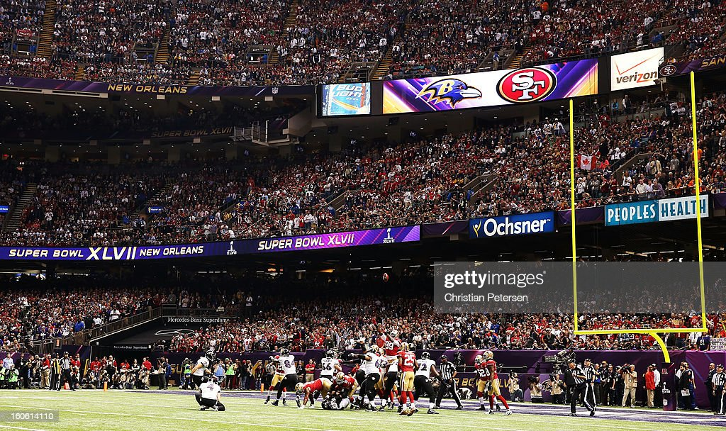Justin Tucker #9 of the Baltimore Ravens kicks a successful extra point attempt in the first quarter after Anquan Boldin #81 caught a 13-yartd touchdown pass against the San Francisco 49ers during Super Bowl XLVII at the Mercedes-Benz Superdome on February 3, 2013 in New Orleans, Louisiana.