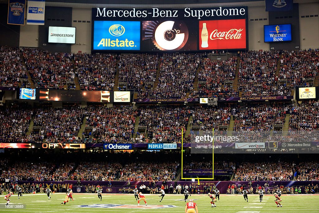 Justin Tucker of the Baltimore Ravens kicks the ball to the San Francisco 49ers to start Super Bowl XLVII at the MercedesBenz Superdome on February 3...