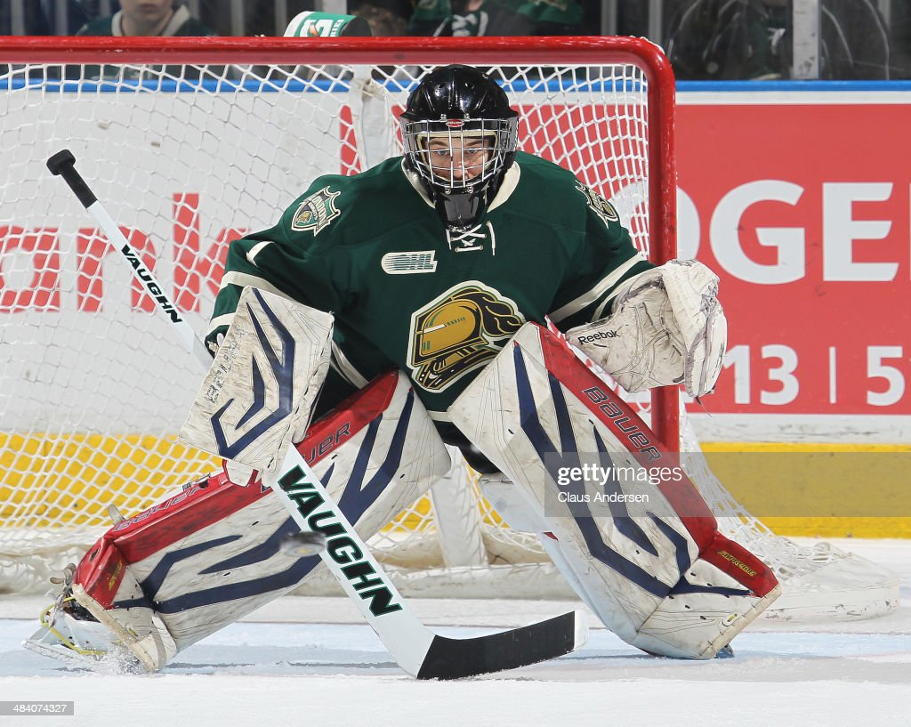 Justin Tugwell #1 of the London Knights gets set to face an incoming shot against the Guelph Storm in Game Four of the OHL Western Conference Semi Final at Budweiser Gardens on April 10, 2014 in London, Ontario, Canada. The Storm defeated the Knights 6-3 to take a 3-1 series lead.