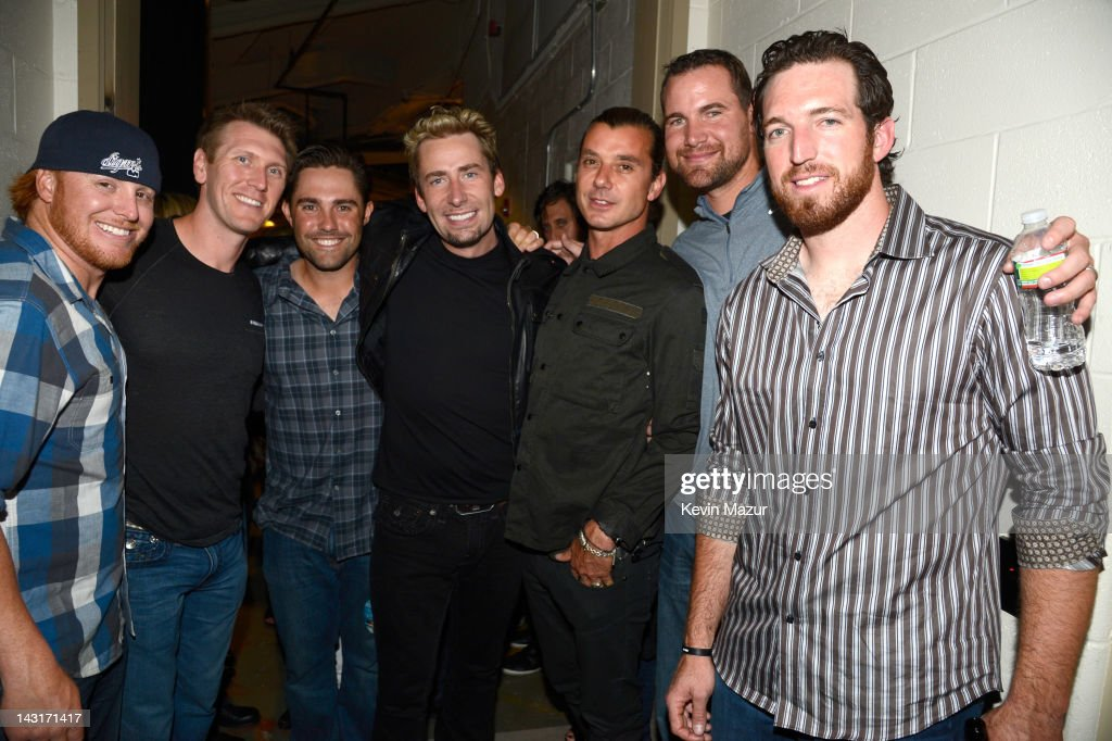 <a gi-track='captionPersonalityLinkClicked' href=/galleries/search?phrase=Justin+Turner&family=editorial&specificpeople=550296 ng-click='$event.stopPropagation()'>Justin Turner</a> of New York Mets, <a gi-track='captionPersonalityLinkClicked' href=/galleries/search?phrase=Jason+Bay&family=editorial&specificpeople=214251 ng-click='$event.stopPropagation()'>Jason Bay</a> of New York Mets, Mike Nickeas of New York Mets, <a gi-track='captionPersonalityLinkClicked' href=/galleries/search?phrase=Chad+Kroeger&family=editorial&specificpeople=193804 ng-click='$event.stopPropagation()'>Chad Kroeger</a> of Nickelback, <a gi-track='captionPersonalityLinkClicked' href=/galleries/search?phrase=Gavin+Rossdale&family=editorial&specificpeople=203016 ng-click='$event.stopPropagation()'>Gavin Rossdale</a> of Bush, <a gi-track='captionPersonalityLinkClicked' href=/galleries/search?phrase=Mike+Pelfrey&family=editorial&specificpeople=836534 ng-click='$event.stopPropagation()'>Mike Pelfrey</a> of New York Mets and <a gi-track='captionPersonalityLinkClicked' href=/galleries/search?phrase=Ike+Davis&family=editorial&specificpeople=2349664 ng-click='$event.stopPropagation()'>Ike Davis</a> of New York Mets pose backstage at the Madison Square Garden on April 19, 2012 in New York, New York.