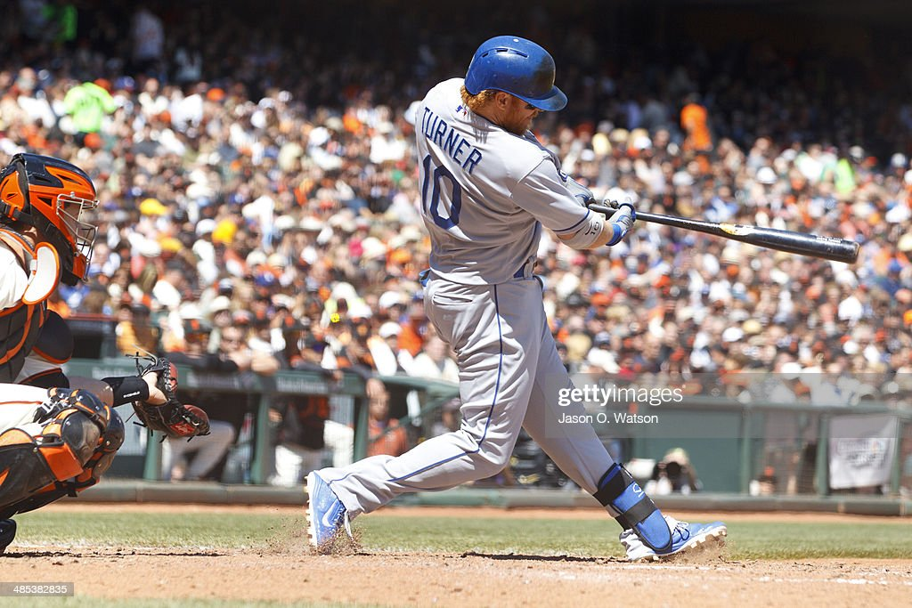 <a gi-track='captionPersonalityLinkClicked' href=/galleries/search?phrase=Justin+Turner&family=editorial&specificpeople=550296 ng-click='$event.stopPropagation()'>Justin Turner</a> #10 of the Los Angeles Dodgers hits a double against the San Francisco Giants during the fifth inning at AT&T Park on April 17, 2014 in San Francisco, California.