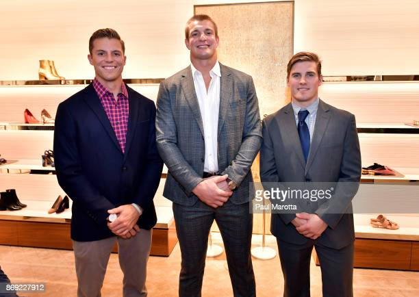 Justin Turri Rob Gronkowski and Davey Emala attend the Opening of the Salvatore Ferragamo Copley Place store on November 2 2017 in Boston...