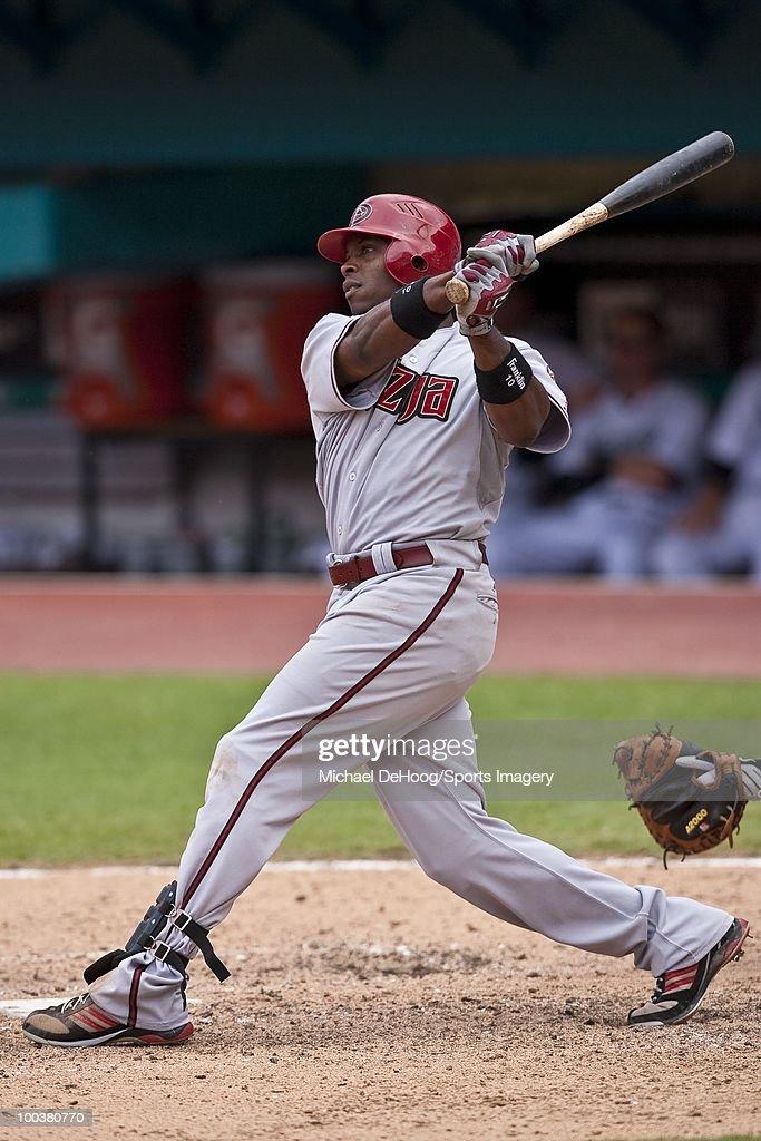 Justin Upton #10 of the Arizona Diamondbacks bats during a MLB game against the Florida Marlins in Sun Life Stadium on May 18, 2010 in Miami, Florida.