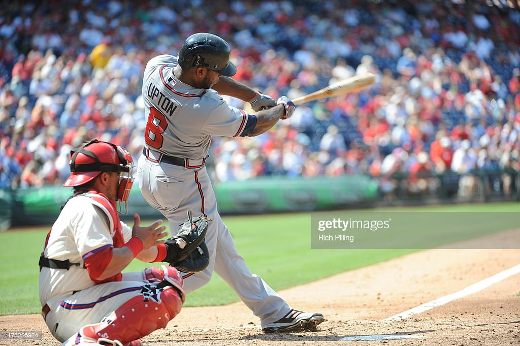 <a gi-track='captionPersonalityLinkClicked' href=/galleries/search?phrase=Justin+Upton&family=editorial&specificpeople=846265 ng-click='$event.stopPropagation()'>Justin Upton</a> #8 of the Atlanta Braves bats against the Philadelphia Phillies on Sunday, July 7, 2013 at Citizens Bank Park in Philadelphia, Pennsylvania. The Phillies defeated the Braves 7-3.