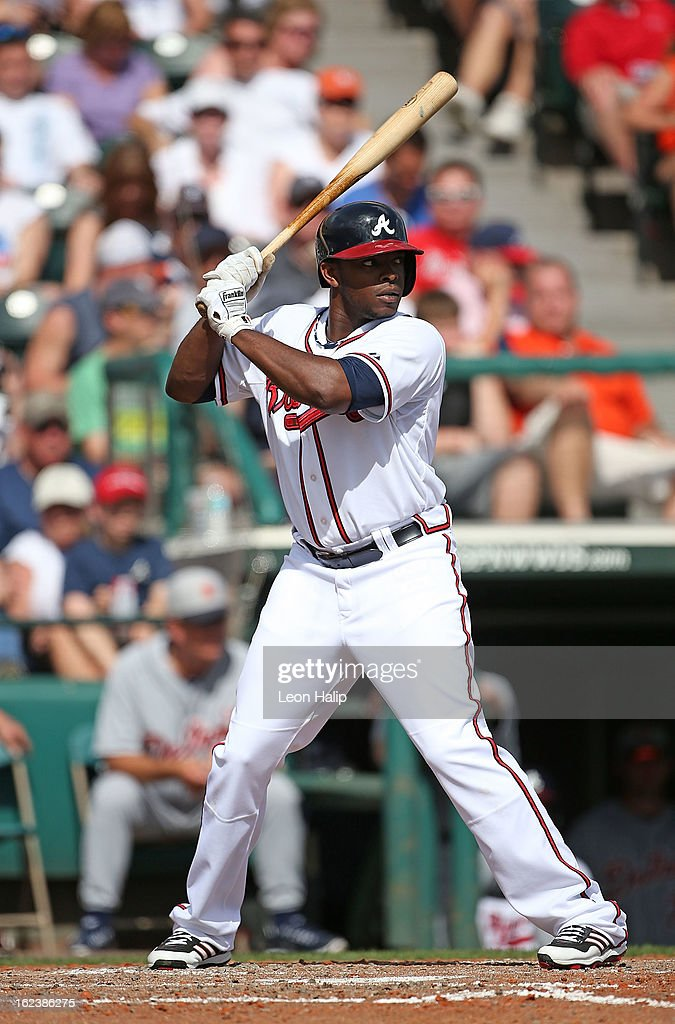 <a gi-track='captionPersonalityLinkClicked' href=/galleries/search?phrase=Justin+Upton&family=editorial&specificpeople=846265 ng-click='$event.stopPropagation()'>Justin Upton</a> #8 of the Atlanta Braves bats during the game against the Detroit Tigers on February 22, 2013 in Lake Buena Vista, Florida. The Tigers defeated the Braves 2-1.